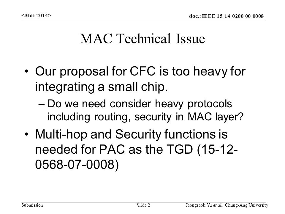 doc.: IEEE Submission MAC Technical Issue Our proposal for CFC is too heavy for integrating a small chip.