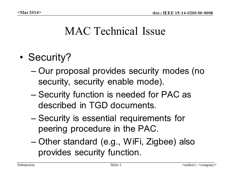 doc.: IEEE Submission MAC Technical Issue Security.