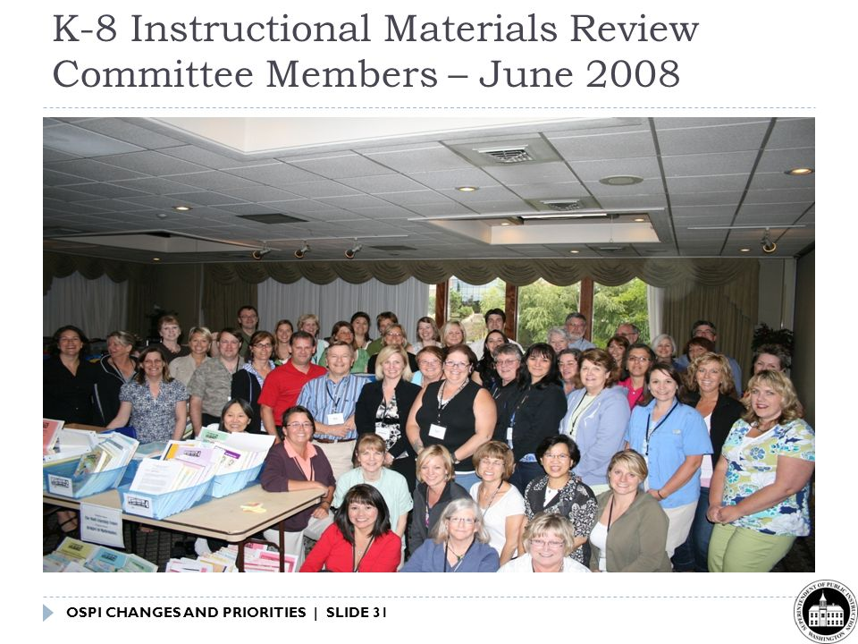 OSPI CHANGES AND PRIORITIES | SLIDE 31 K-8 Instructional Materials Review Committee Members – June 2008