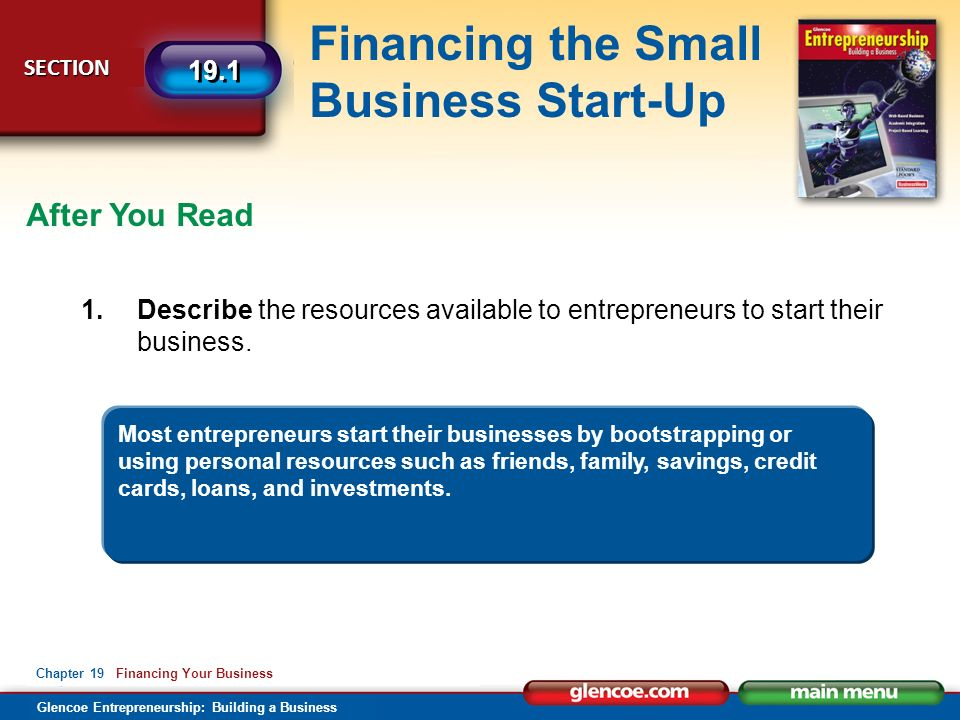 Financing your business glencoe entrepreneurship building a glencoe entrepreneurship building a business financing the small business start up section section 191 reheart Image collections