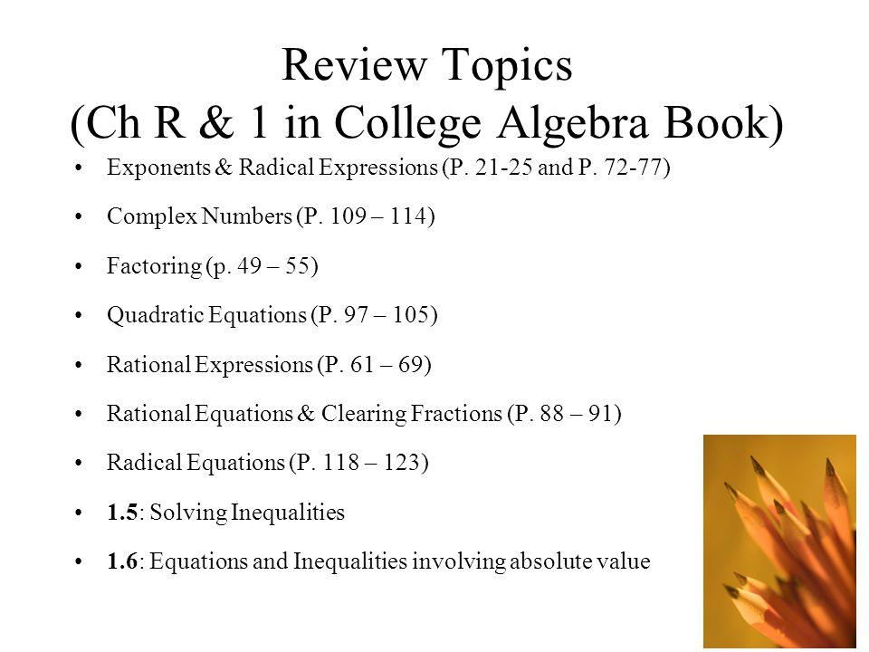 College Algebra 1 Book