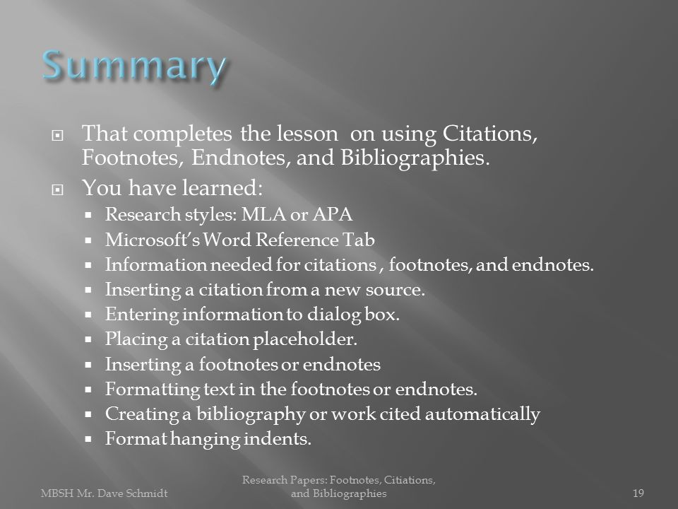 Research Papers: Footnotes, Citations, and Bibliographies
