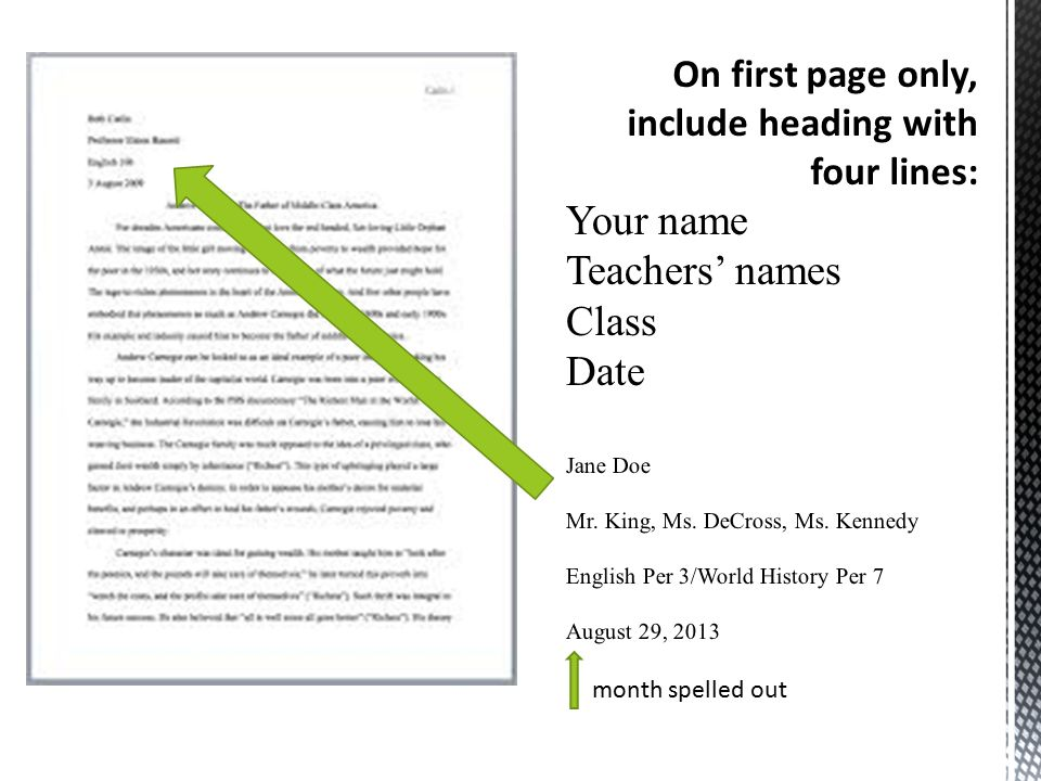 month spelled out On first page only, include heading with four lines: