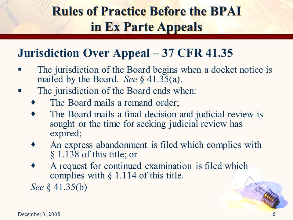 appeal against ex parte order
