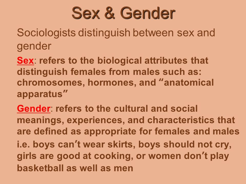 Definition of gender and sex