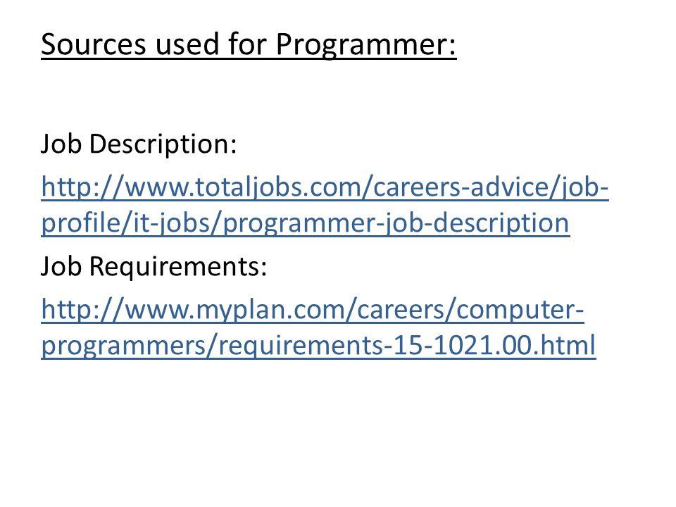 17 Sources Used For Programmer: Job Description: ...
