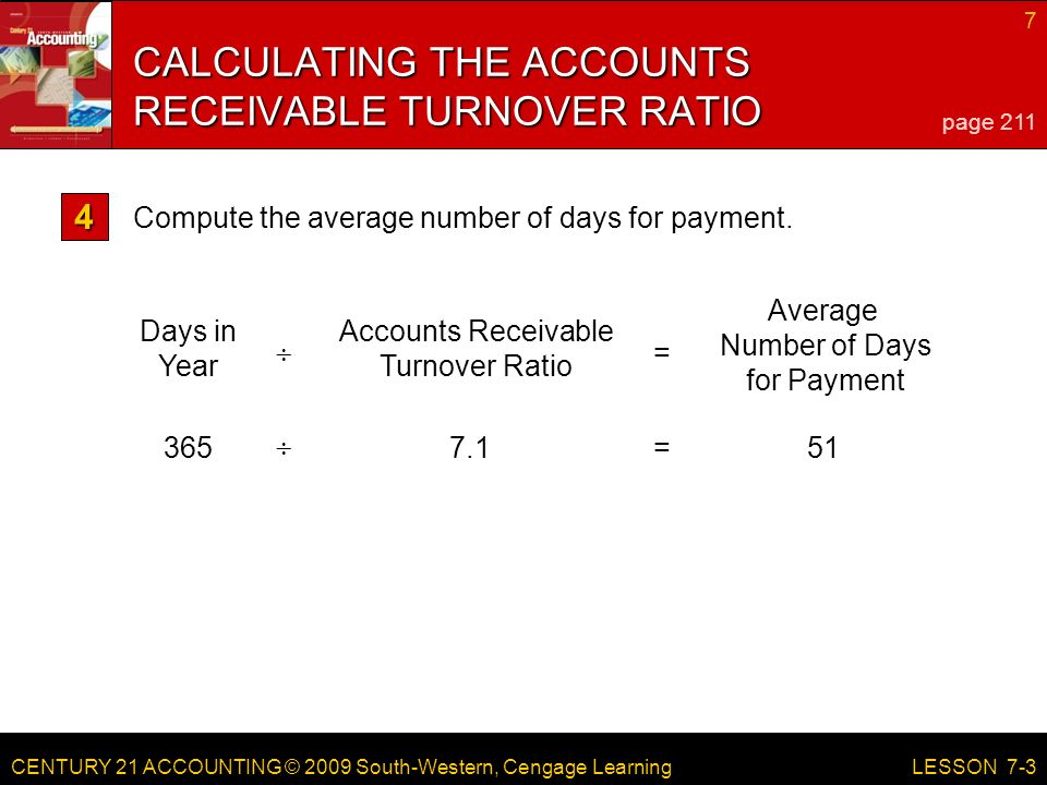 CENTURY 21 ACCOUNTING © 2009 South-Western, Cengage Learning 7 LESSON  = Days in Year Accounts Receivable Turnover Ratio Average Number of Days for Payment  = CALCULATING THE ACCOUNTS RECEIVABLE TURNOVER RATIO page 211 Compute the average number of days for payment.