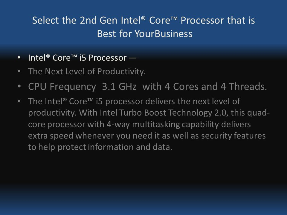 Select The 2nd Gen Intel Core Processor That Is Best For