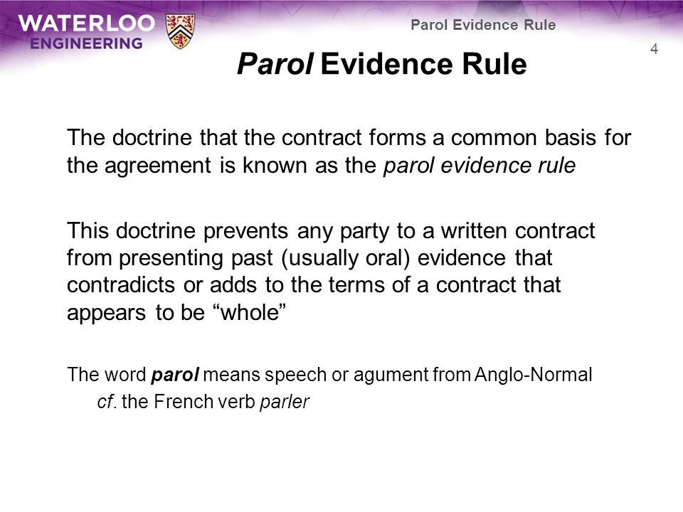 Contract Law Parol Evidence Douglas Wilhelm Harder Mth Lel