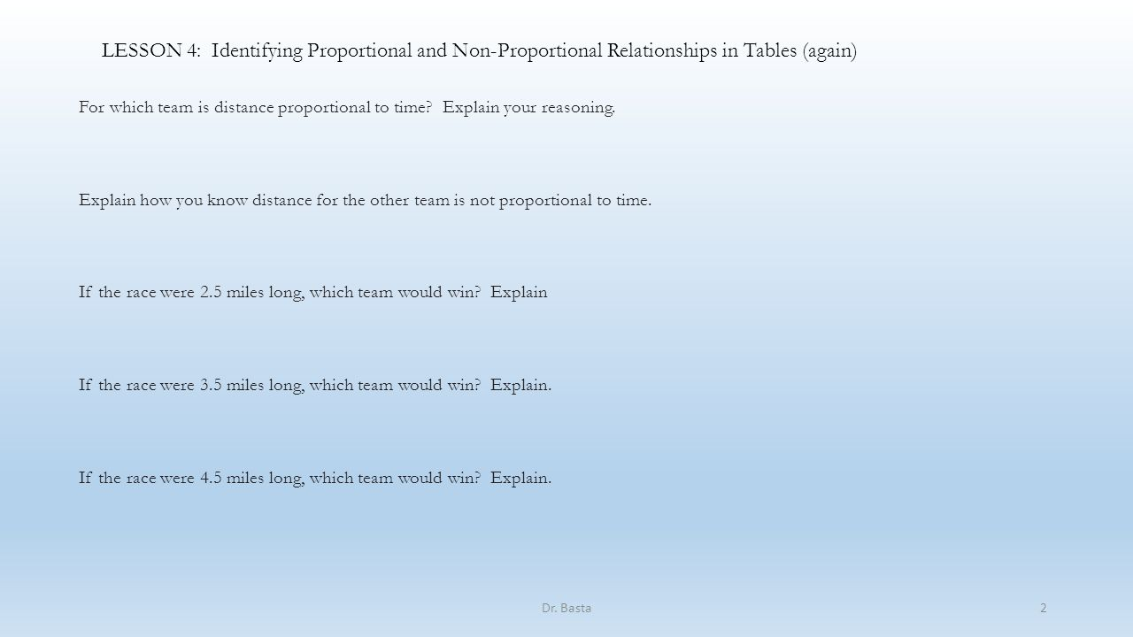 Lesson 4 Identifying Proportional And Non Proportional