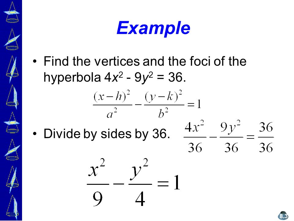 Example Find the vertices and the foci of the hyperbola 4x 2 - 9y 2 = 36.