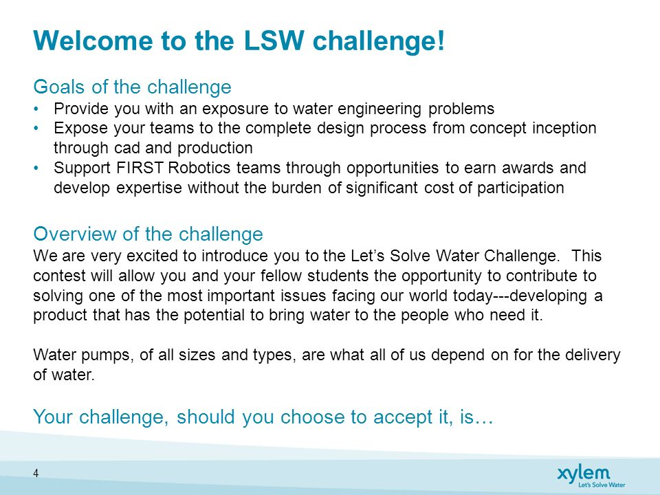 let s solve water challenge xylem ptc igknighters september 28
