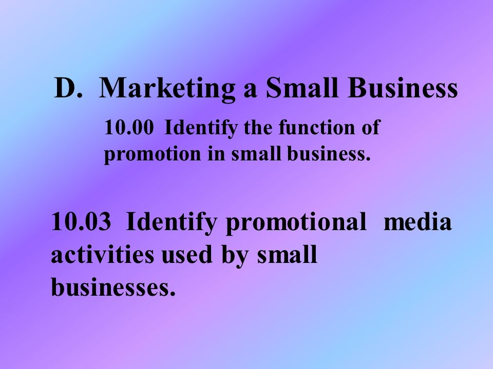 D. Marketing a Small Business Identify promotional media activities used by small businesses.