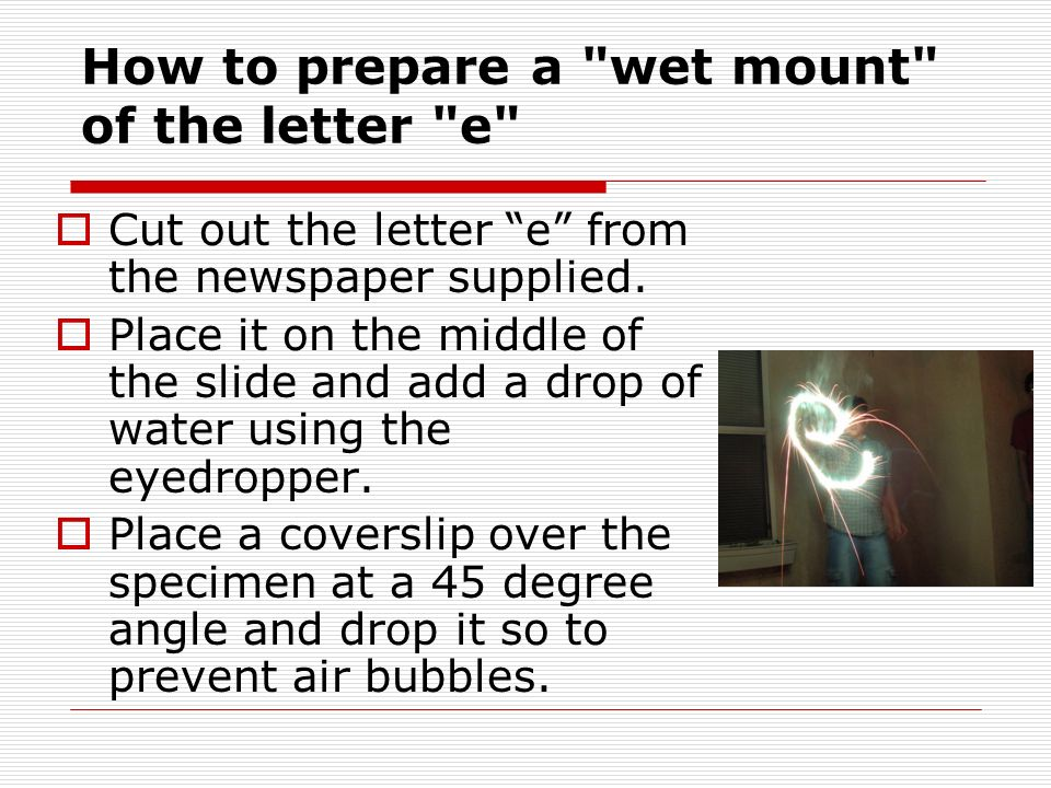 groundwork preparation for wet mounts essay The process known as wet-mount can be used to prepare a specimen on a slide which can be viewed with a compound light microscopes to produce an enlarged image.