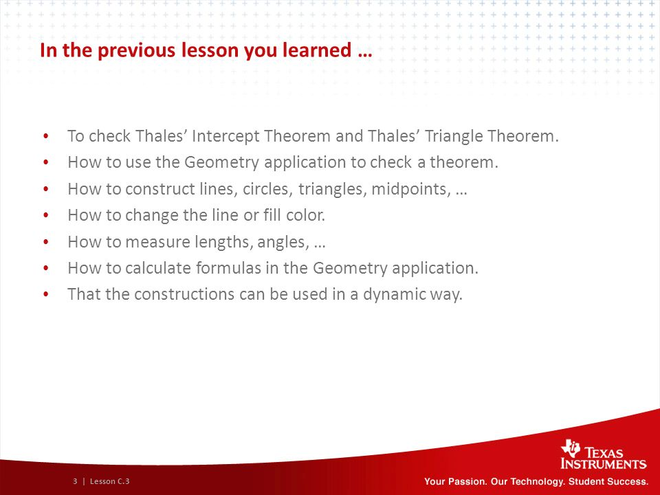 Module C Lesson 3: Exercises Geometry with TI-Nspire