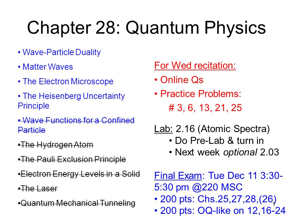 1 Chapter 28: Quantum Physics Wave-Particle Duality Matter Waves The