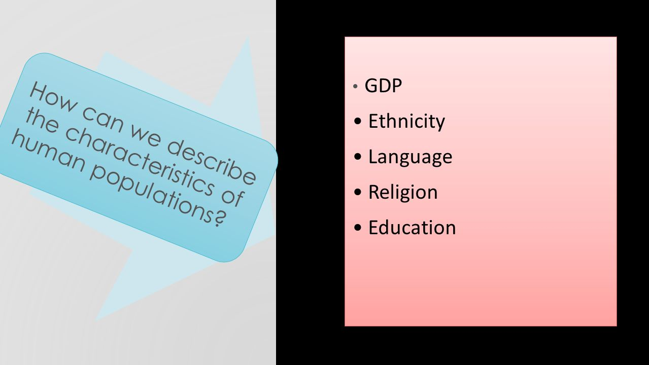 GDP Ethnicity Language Religion Education GDP Ethnicity Language Religion Education How can we describe the characteristics of human populations