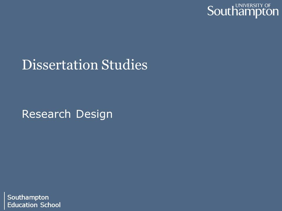 dissertation research design