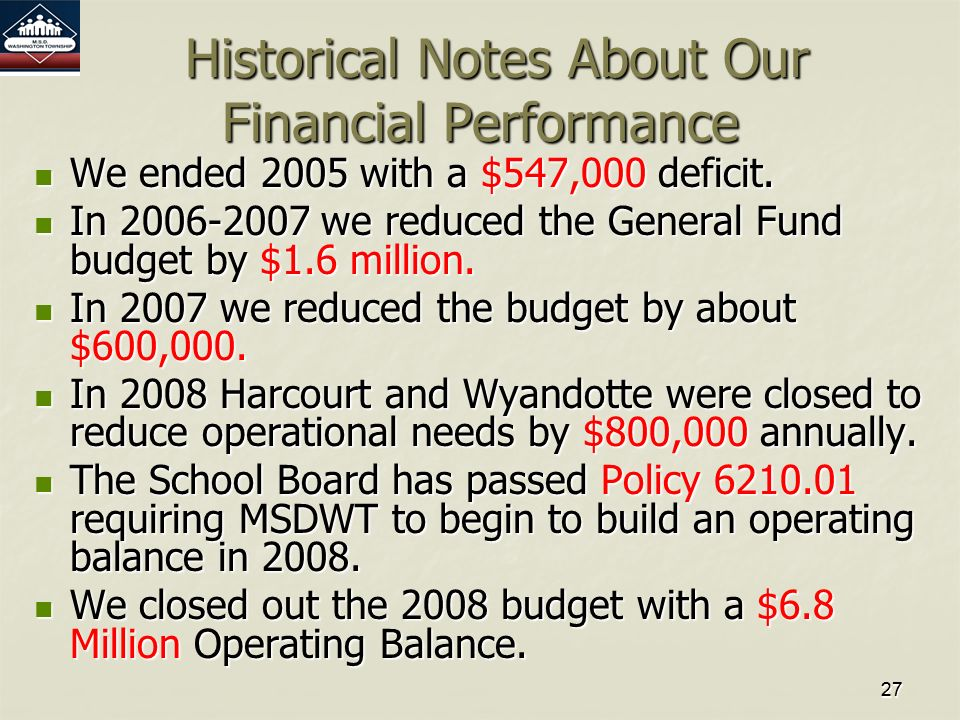 2727 Historical Notes About Our Financial Performance Historical Notes About Our Financial Performance We ended 2005 with a $547,000 deficit.
