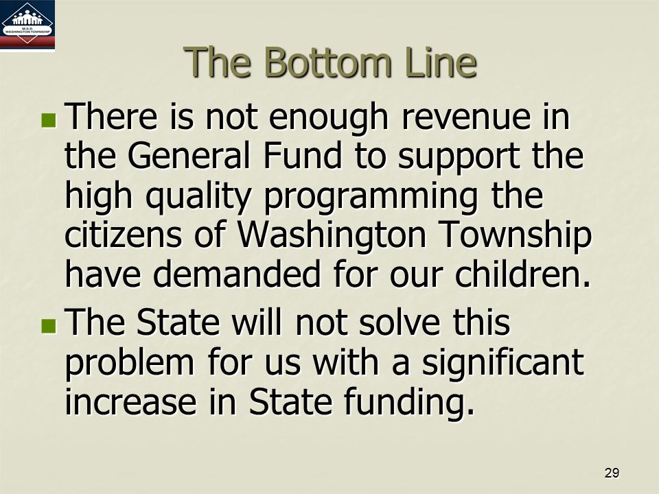 2929 The Bottom Line There is not enough revenue in the General Fund to support the high quality programming the citizens of Washington Township have demanded for our children.