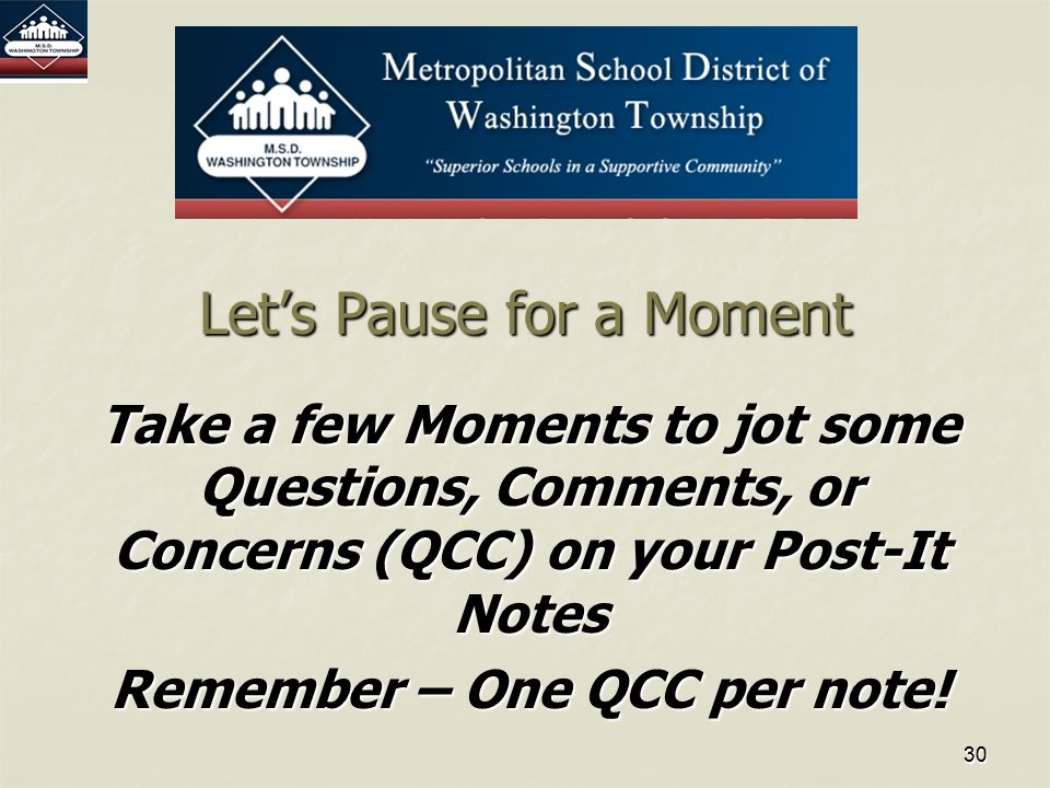 3030 Let's Pause for a Moment Take a few Moments to jot some Questions, Comments, or Concerns (QCC) on your Post-It Notes Remember – One QCC per note!