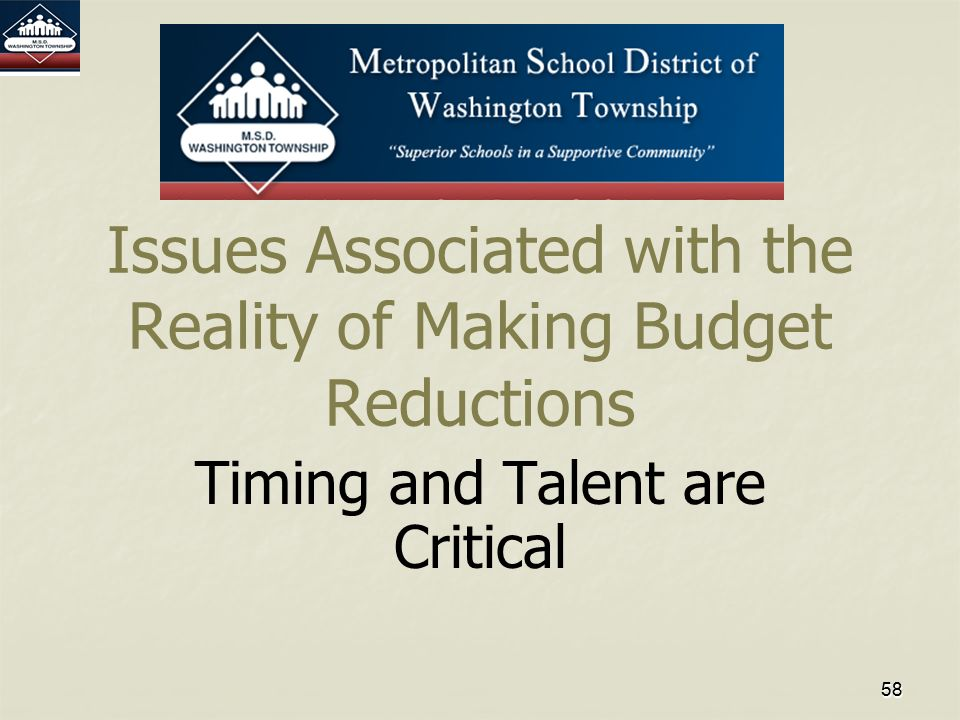 5858 Issues Associated with the Reality of Making Budget Reductions Timing and Talent are Critical
