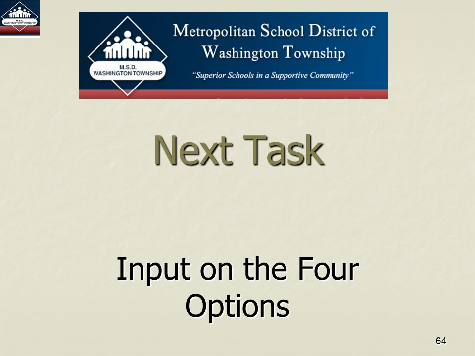 6464 Next Task Input on the Four Options