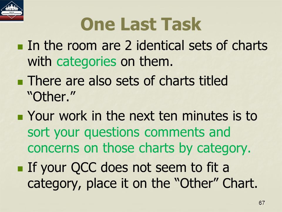 67 One Last Task In the room are 2 identical sets of charts with categories on them.