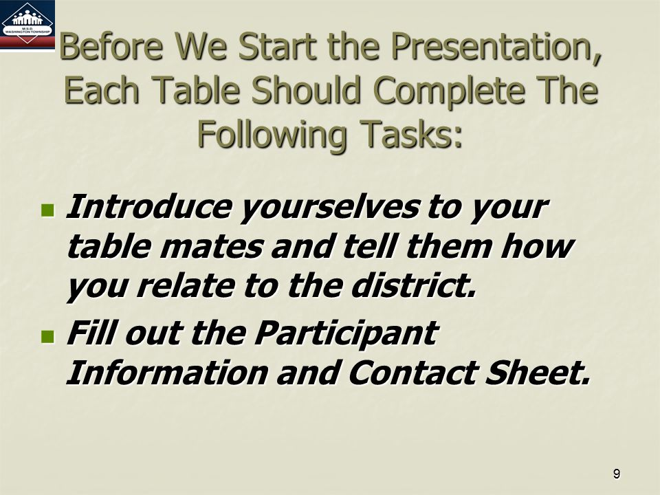 99 Before We Start the Presentation, Each Table Should Complete The Following Tasks: Introduce yourselves to your table mates and tell them how you relate to the district.