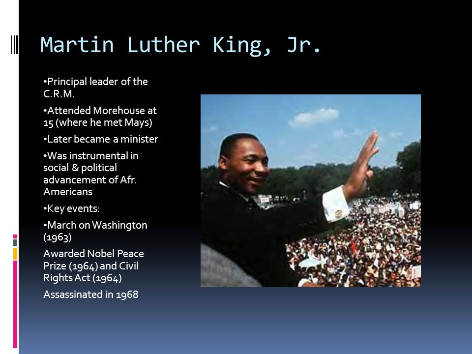 The Civil Rights Movement Martin Luther King Jr Principal Leader
