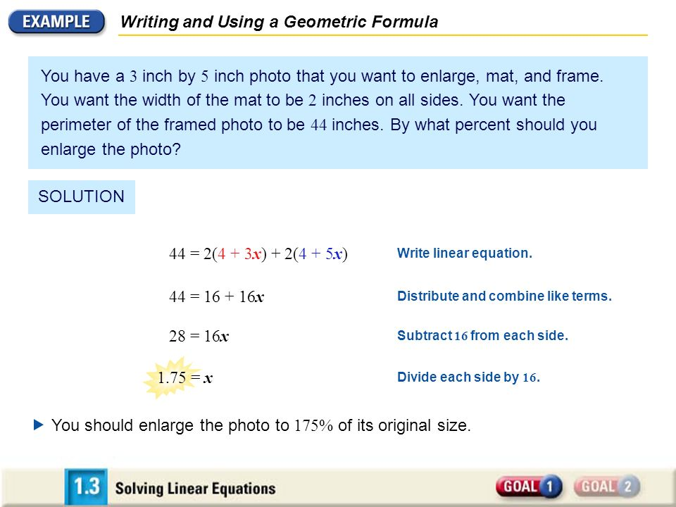 44 = 2(4 + 3x) + 2(4 + 5x) Write linear equation. Distribute and combine like terms.