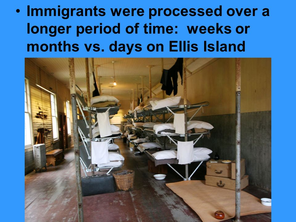 Immigrants were processed over a longer period of time: weeks or months vs. days on Ellis Island