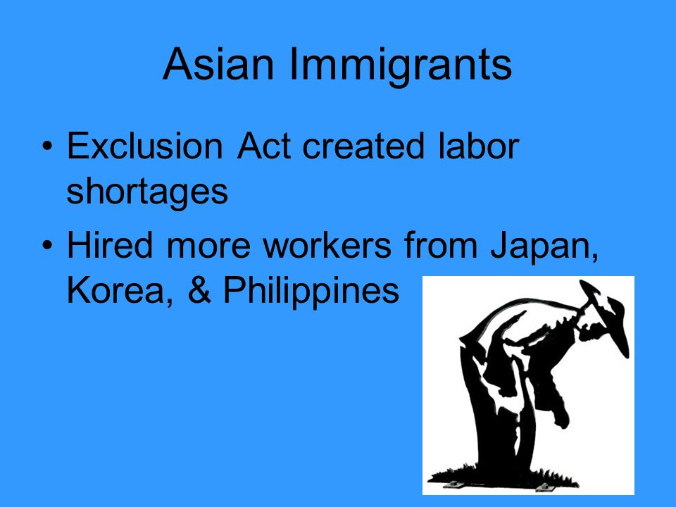 Asian Immigrants Exclusion Act created labor shortages Hired more workers from Japan, Korea, & Philippines