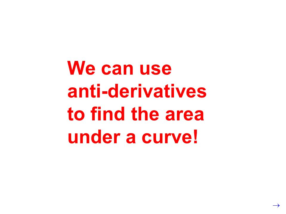 We can use anti-derivatives to find the area under a curve!