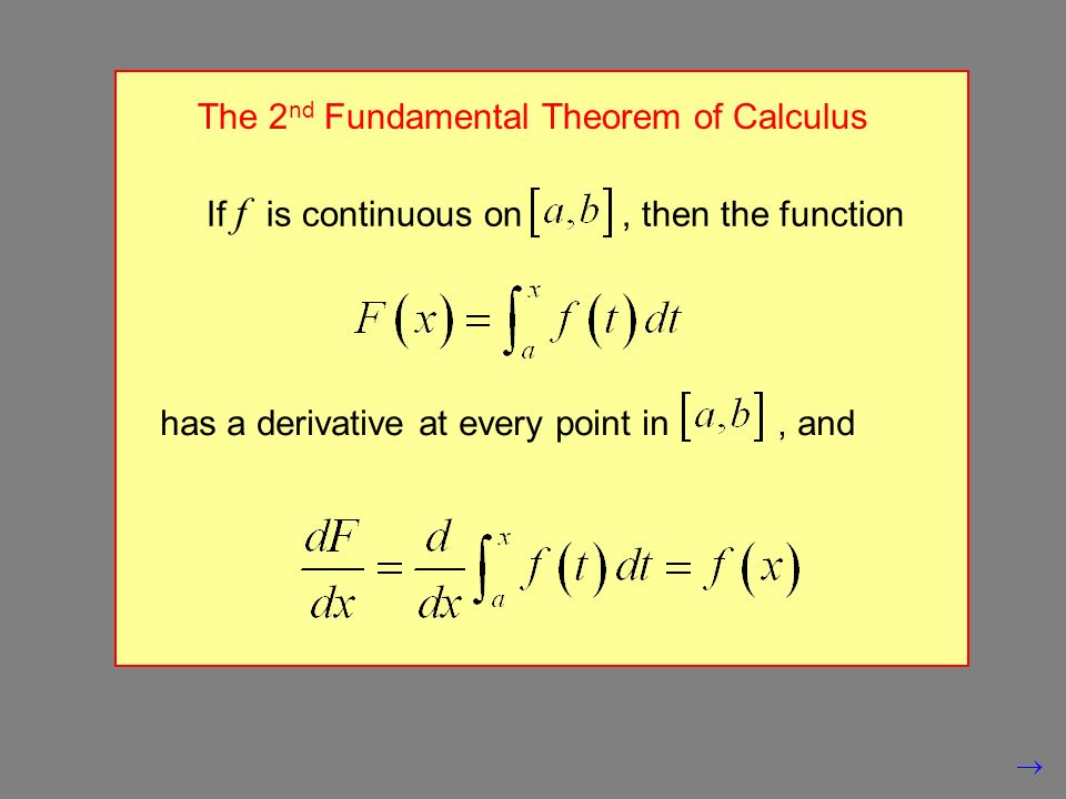 The 2 nd Fundamental Theorem of Calculus If f is continuous on, then the function has a derivative at every point in, and
