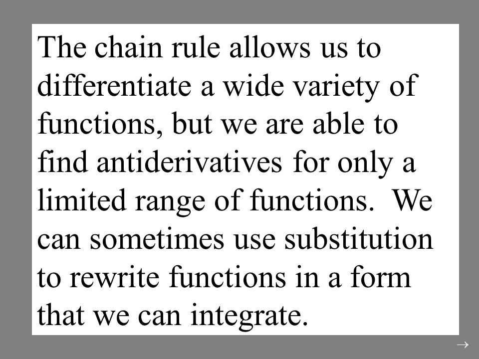 The chain rule allows us to differentiate a wide variety of functions, but we are able to find antiderivatives for only a limited range of functions.