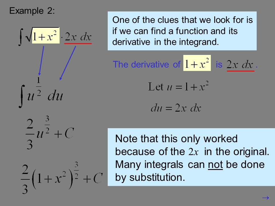 Example 2: One of the clues that we look for is if we can find a function and its derivative in the integrand.