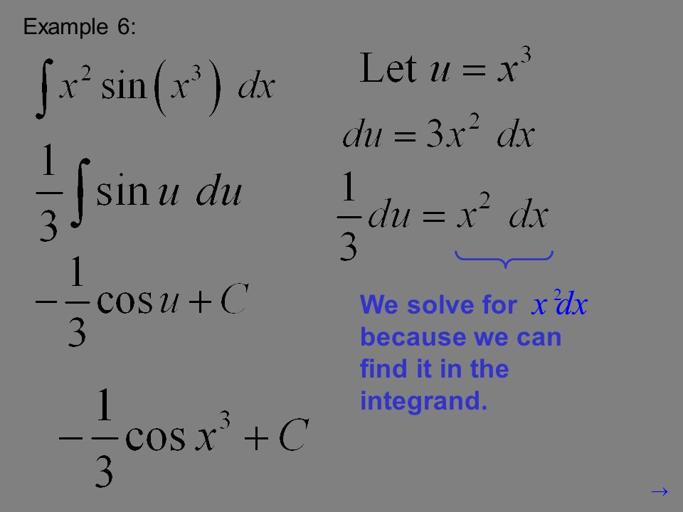 Example 6: We solve for because we can find it in the integrand. 2 x dx