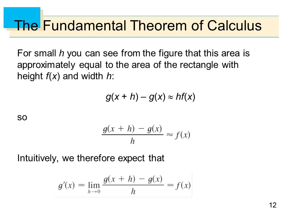 12 The Fundamental Theorem of Calculus For small h you can see from the figure that this area is approximately equal to the area of the rectangle with height f (x) and width h: g(x + h) – g(x)  hf (x) so Intuitively, we therefore expect that