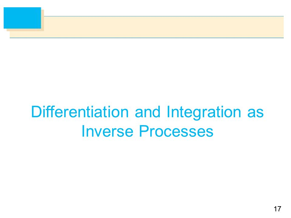 17 Differentiation and Integration as Inverse Processes