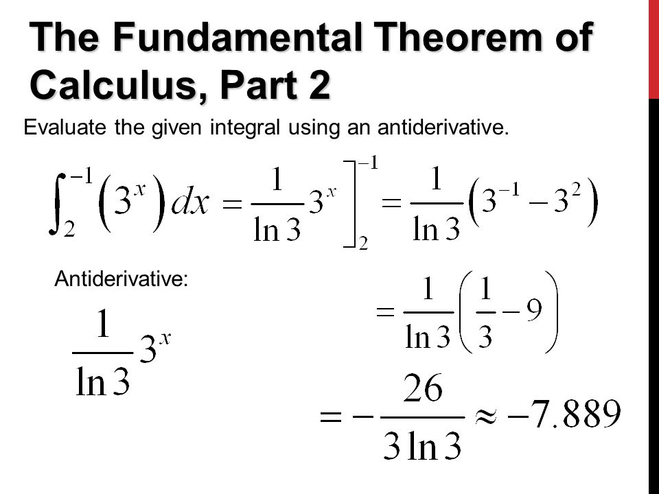 The Fundamental Theorem of Calculus, Part 2 Evaluate the given integral using an antiderivative.