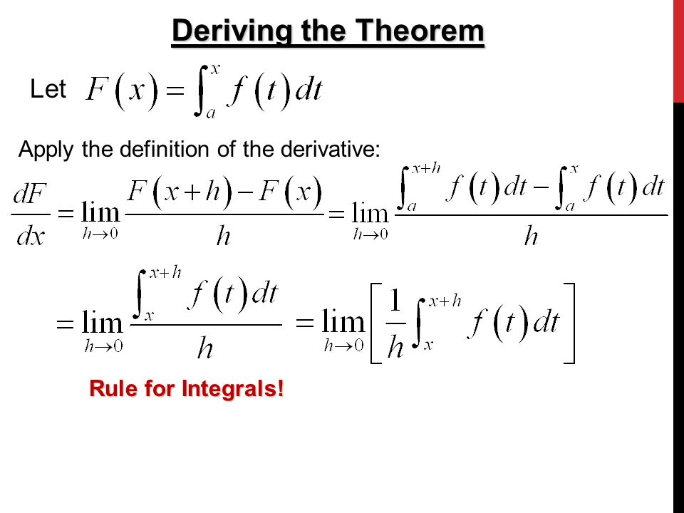 Deriving the Theorem Let Apply the definition of the derivative: Rule for Integrals!