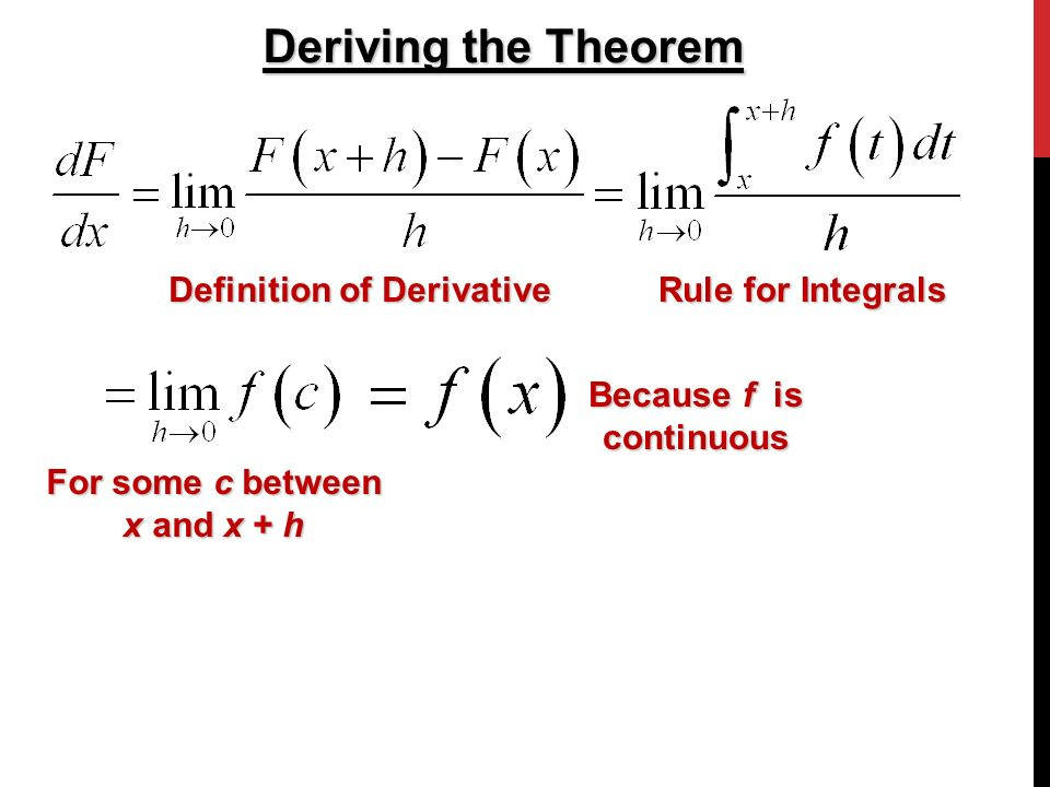 Deriving the Theorem Definition of Derivative Rule for Integrals For some c between x and x + h Because f is continuous
