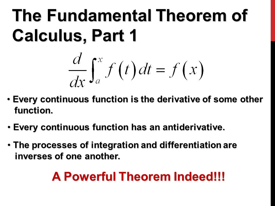 The Fundamental Theorem of Calculus, Part 1 Every continuous function is the derivative of some other Every continuous function is the derivative of some other function.