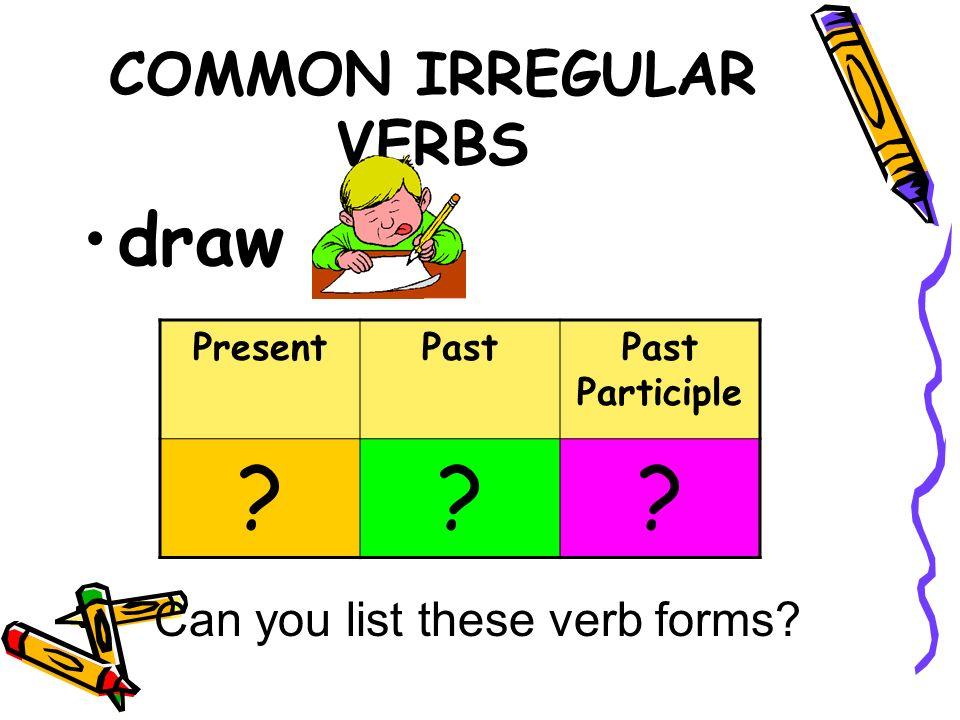Irregular Verbs Common Irregular Verbs Be Presentpastpast