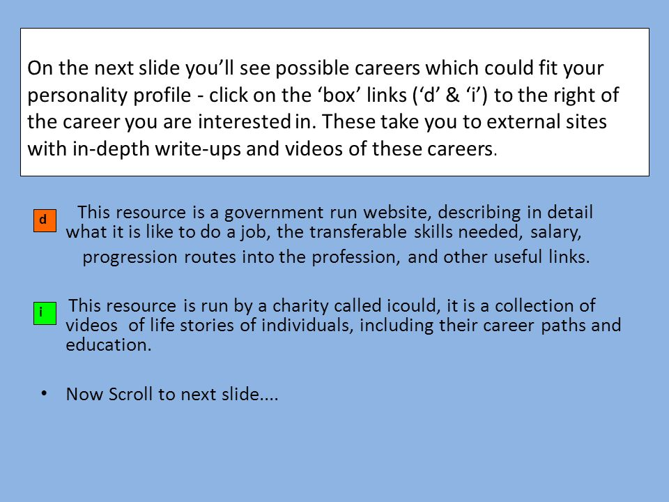 describe possible career progression routes