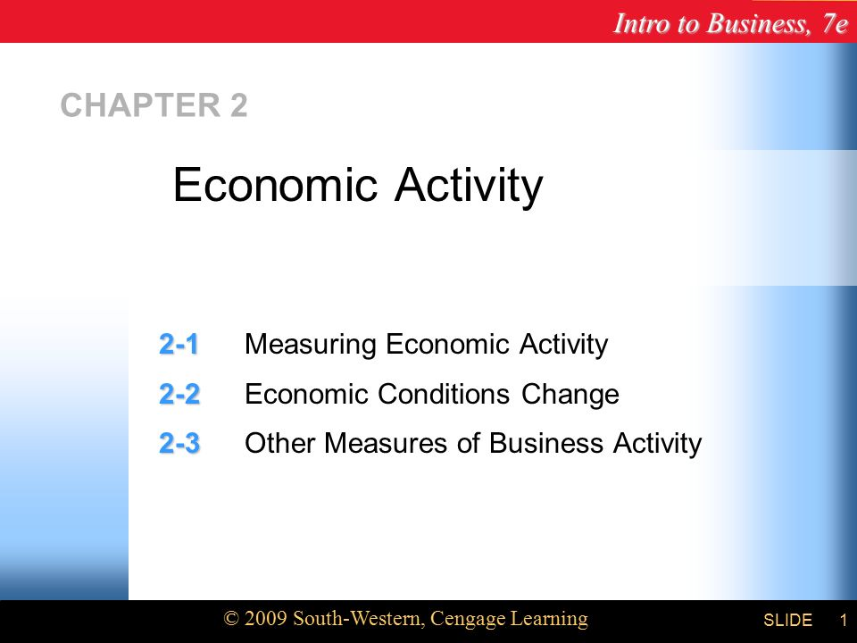 Intro to Business, 7e © 2009 South-Western, Cengage Learning SLIDE1 CHAPTER Measuring Economic Activity Economic Conditions Change Other Measures of Business Activity Economic Activity