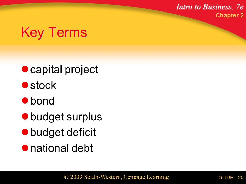 Intro to Business, 7e © 2009 South-Western, Cengage Learning SLIDE Chapter 2 20 Key Terms capital project stock bond budget surplus budget deficit national debt