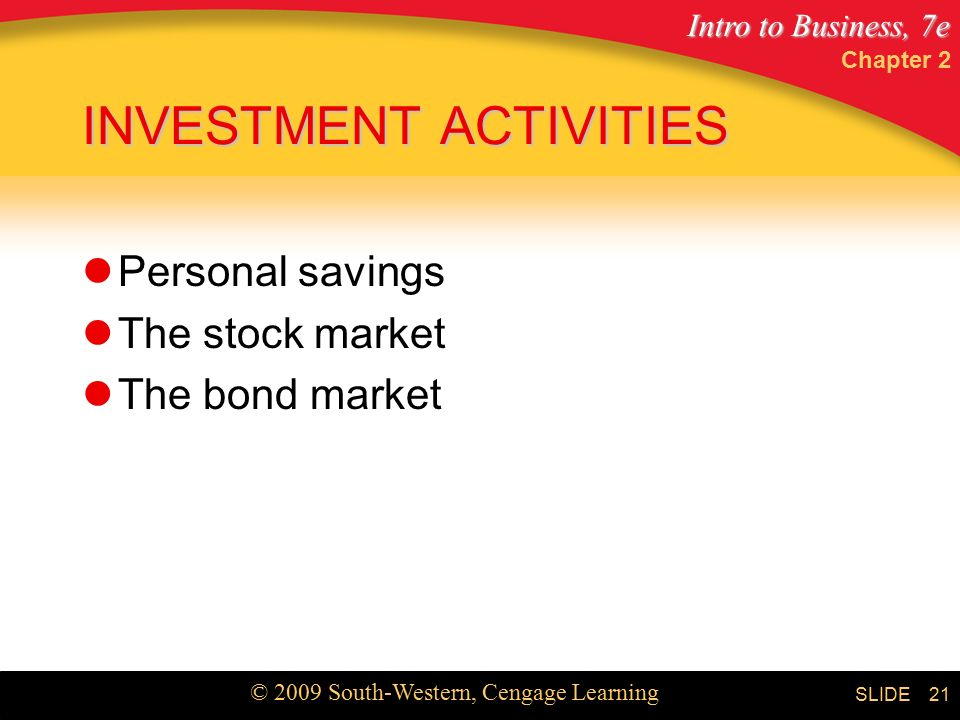 Intro to Business, 7e © 2009 South-Western, Cengage Learning SLIDE Chapter 2 21 INVESTMENT ACTIVITIES Personal savings The stock market The bond market