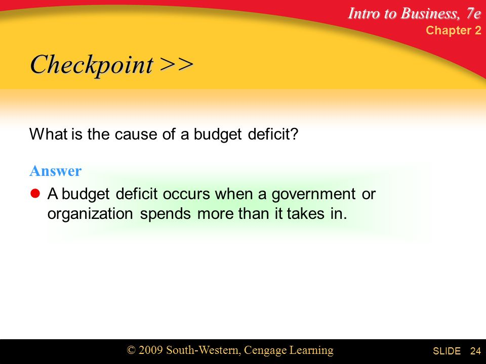 Intro to Business, 7e © 2009 South-Western, Cengage Learning SLIDE Chapter 2 24 What is the cause of a budget deficit.